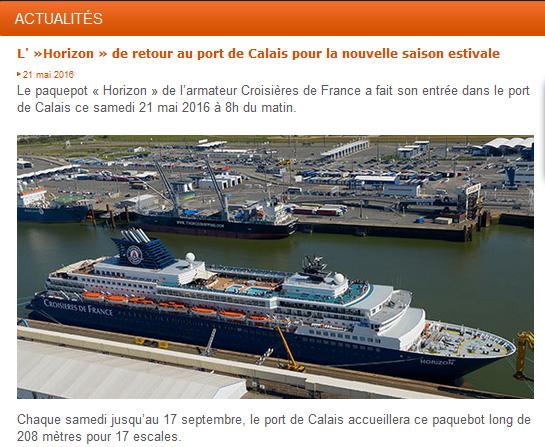Croisière en Europe du Nord: port de Calais