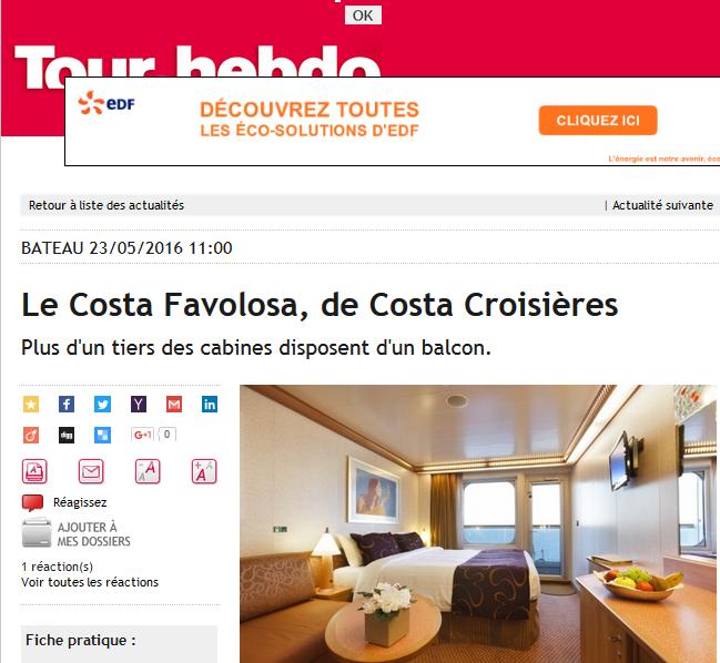 Costa Favolosa, à la Une du Tour Hebdo