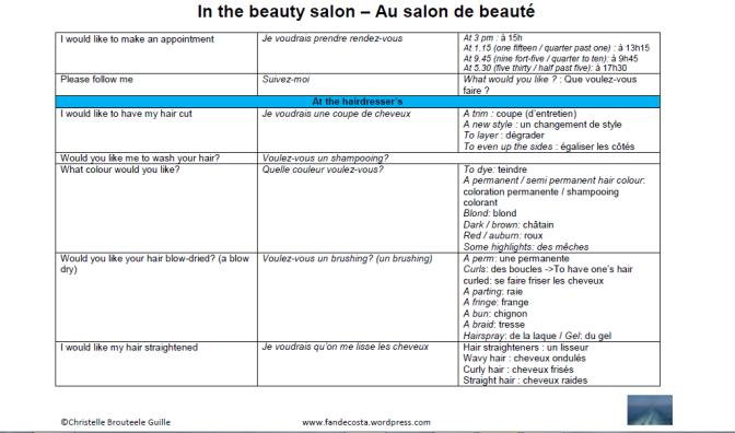 Croisière: Parler anglais au salon de beauté