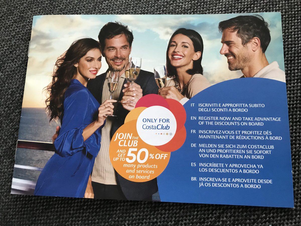 50% de Réduction pour les Membres Costa Club