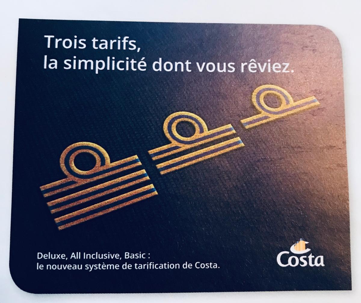 Nouveaux tarifs Costa: 3 tarifs pour simplifier nos réservations