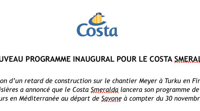 Retard de construction: le Costa Smeralda ne sera pas livré en octobre prochain